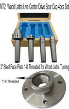 """4PC MT2 Wood Live Center And 3"""" Steel Face Plate 1-8 Threaded for Wood Lathe Set"""