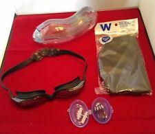 Swim Goggles Anti-Fog Silicone Strap & Gasket +Nose Clip Ear Plugs Cap Black New