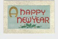PPC POSTCARD HAPPY NEW YEARS HORSESHOE HOLLY SPRIGS GOLD EMBOSSED