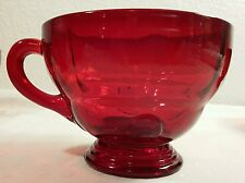 "6 New Martinsville Glass Ruby Red ""Moondrops"" Handled Cups"