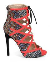 Caged Lace up Open Toe Tribal Print High Heels Multi color - size 6