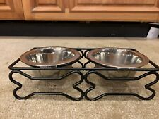 Pet Food/Water Bowls on Stand Stainless Steel Double Small Dishes
