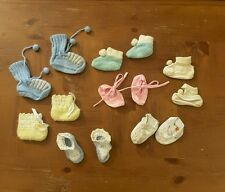 Lot of 7 vintage baby booties 50's 60's