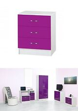 Deluxe Purple High Gloss & Ash White Effects Wooden 3 Drawers Storage Chest Unit