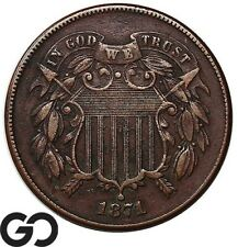 1871 Two Cent Piece, AU Collector Type Coin