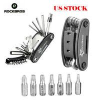 ROCKBROS Bike Repair Tool Cycling Bicycle Kit Multi Mini Pocket 16 in 1 Black US