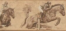 Wallpaper Border Horse Racing Jumping Horses Sepia Background