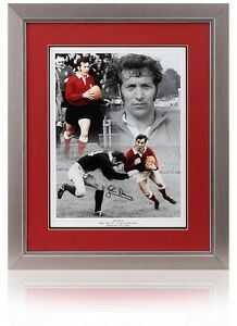"John Dawes hand signed 16x12"" WFU Wales Rugby montage AFTAL photo proof COA"