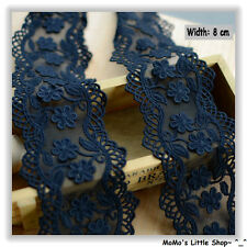 Beautiful Black Floral Embroidery Tulle/Mesh Net Lace Trim/Edging (8 cm) -- 1 M