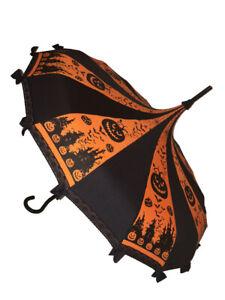 ORANGE HALLOWEEN print Umbrella/Parasol pagoda shaped by Hilary's Vanity