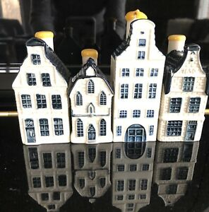 Vintage LOT of 4 Blue Delft Houses KLM by BOLS Numbered 7, 51, 42, 16 EUC