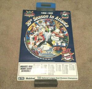 Atlanta Braves 30th Season 1996 Home Schedule Poster GTE Mobilnet