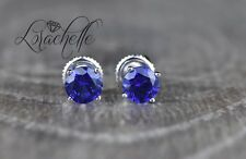 1.0 ct Round Cut Blue Sapphire Screw Back Earring Studs 14K White Gold