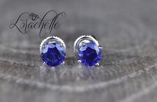 1.0 ct Round Cut Blue Sapphire Screw Back Earring Studs 14K White Gold