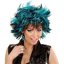Blue Striped Black Punk Wig - Nancy 80er Year Black New Carnival Hair