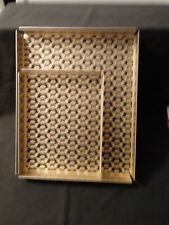 Nesting Desk Trays Aluminum Set of Two Gold and Black Octagon Pattern, New