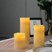 """3 IVORY 4"""" 6"""" 8"""" tall LED Pillar Candles Lights with Remote Control Centerpieces"""
