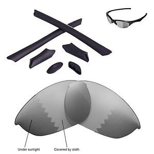 Walleva Black Polarized Lenses And Rubber Kit And Bolts For Oakley Jawbone