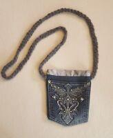 Handmade Blue Jean Denim Purse Shoulder/Cross Body Bag Cross Bling Rhinestone