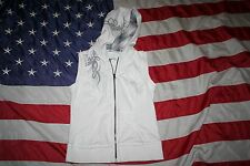 MAURICES White Athletic Hoodie Vest Jacket Size Medium: sweatshirt/coat  #4396