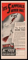 1936 AL FOSS Fishing Lure Lures Vintage PRINT AD Orient and Dixie Wiggler
