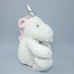 "Primark white unicorn comforter baby soft toy plush silver horn 14"""