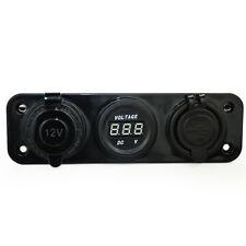 Motorcycle Cigarette Digital Voltmeter Gauge Dual USB Power Socket 3 Hole WYS