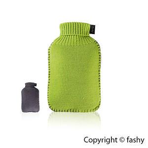 Neu+Wärmflasche+Fashy+Strick+Strickbezug+Mod.6715+Wärmekissen+Grau+Grün+