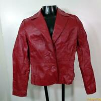 MADISON & MAX Leather JACKET Blazer Coat Womens Size S Red