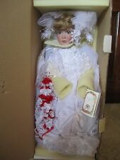 """BRAND NEW """"STEPHANIE"""" ALL PORCELAIN BRIDE DOLL BY JANIS BERARD~W/ COA/STAND/SHPR"""