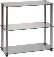 Convenience Concepts Designs2Go Go-Accsense 3-Shelf Glass Bookcase Clear ... NEW
