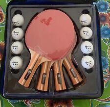 JP WinLook 4 Pack Pro Ping Pong Paddle Set Premium Table Tennis Rackets 8 Balls