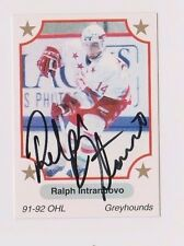 91/92 Ralph Intranuovo Soo Greyhounds Autographed OHL Hockey Card