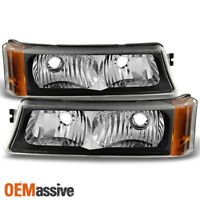 Fit 2003-2006 Chevy Silverado Black Bumper Signal Parking Lights Lamps L+R
