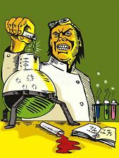 PRINT PAINTING CARTOON MAD SCIENTIST CHEMISTRY EXPERIMENT WEIRD COOL LFMP0264