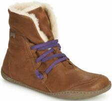 Camper Peu Cami Tan Purple Womens Leather Hi Ankle Fur Boots