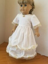 "18"" Doll Dress - Colonial Ballgown with Shoes - White with Gold!!!"