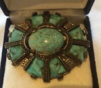 Stunning Vintage Miracle Brooch Turquoise Agate Stone MIRACLE Scotland