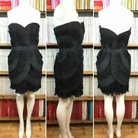 LAUNDRY Shelli Segal Dress 10 US 6 Cocktail Black Lace Strapless Pleated