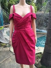 NWT $3,300 RARE ANDREW GN 44 (US 12) Pink Draped Retro Fitted Off Shoulder Dress
