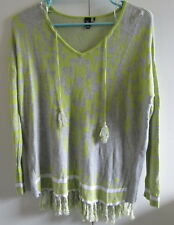Ladies R Knit Look Top Size M Tassels Lime Green Grey Long Sleeve Thin Knit
