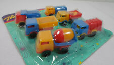 VTG 80's LOT OF 6 x 2'' TRUCKS PLASTIC TOY CARS PENNY TOYS KARAMPOLA LUCKY CUP A