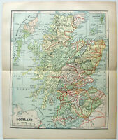 Scotland - Original 1895 Map by Dodd Mead & Company. Antique