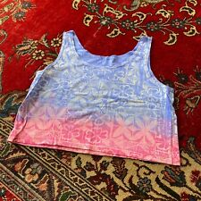 Vintage 80s Neon All Over Print Cropped Tank Top Hawaiian Print