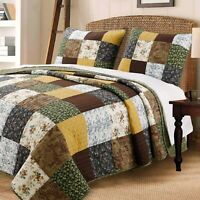 Huitt Country Real Patchwork 100%Cotton 3-Piece Quilt Set, Bedspread, Coverlet