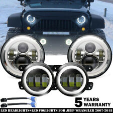 "For Jeep Wrangler JK 7"" Headlights High Low Beam+ LED Halo Fog Light Super White"