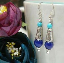 Navy Blue LAPIS LAZULI & Blue TURQUOISE Gemstone & STERLING SILVER Earrings