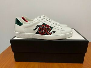 Gucci Ace Snake White Sneakers Mens Size 10 US 43-44 EU (NEVER WORN)