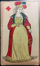 19thc. Queen Court Authentic Playing Cards Non-Transparent Historic Single +COA