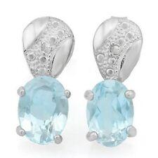 Ohrringe/Ohrstecker Geri, 925er Silber, 1,83 Kt. echter Blautopas/Diamant